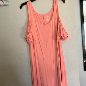 Orange/coral cold shoulder dress